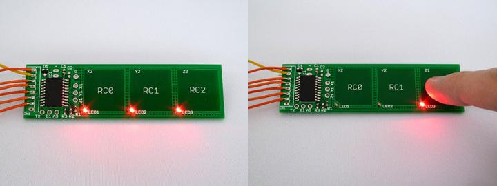 動作確認用LEDが基板上に実装されており、モジュール単体での動作確認が可能です。