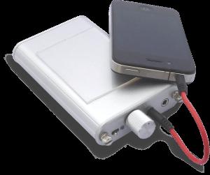 一般的なスマートフォンとポータブルアンプとの合体に威力を発揮するタイプです 7cm×5cm